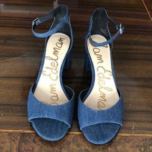 NEW Denim Peep-toe Buckle Strap Heel 2&1/2In